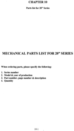 ACER Engine Lathe Parts List for 20 Series