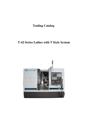 Hardinge Tooling Catalog T-42 Series Lathes with T Style System