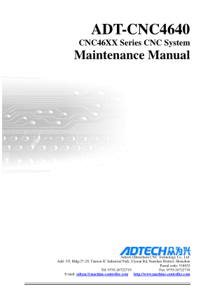 ADT-CNC4640 Maintenance Manual CNC46XX Series CNC System