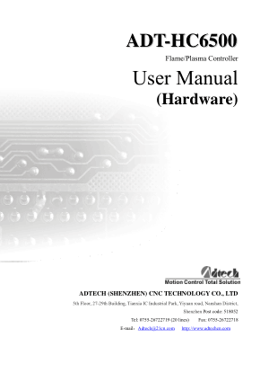 ADT-HC6500 Flame Plasma Controller User Manual Hardware