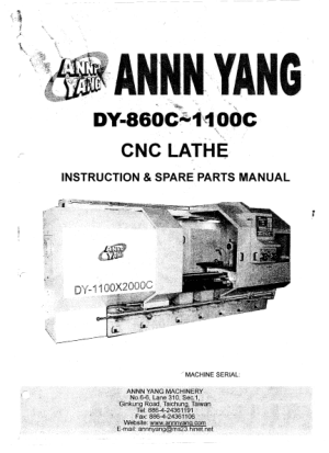 ANNN YANG DY-860C 1100C CNC Lathe Instruction Manual