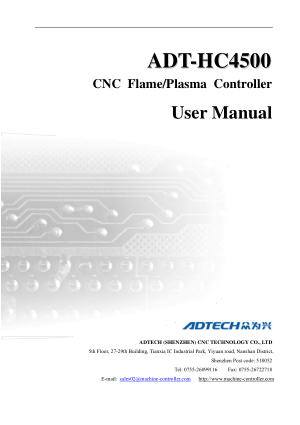 ADT-HC4500 CNC Flame Plasma Controller User Manual