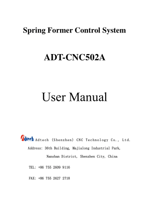 ADT-CNC502A User Manual Spring Former Control System
