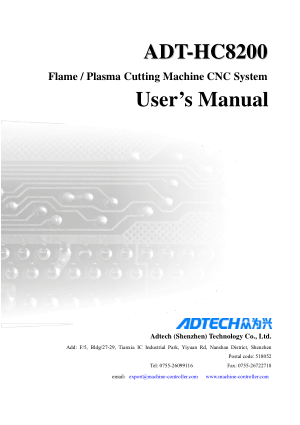 ADT-HC8200 User Manual Flame Plasma Cutting Machine CNC System