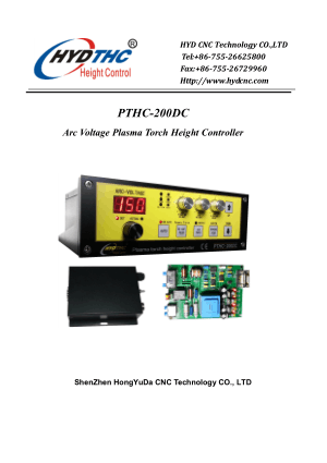 PTHC-200DC User Manual Arc Voltage Plasma Torch Height Controller