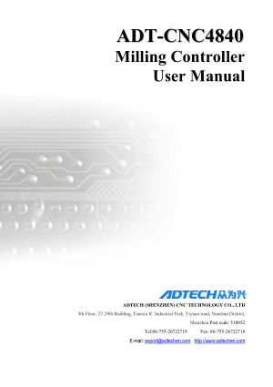 ADT-CNC4840 Milling Controller User Manual