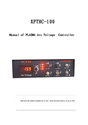 XPTHC-100 Manual of PLASMA Arc Voltage Controller