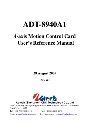 ADT-8940A1 User Reference Manual 4-axis Motion Control Card