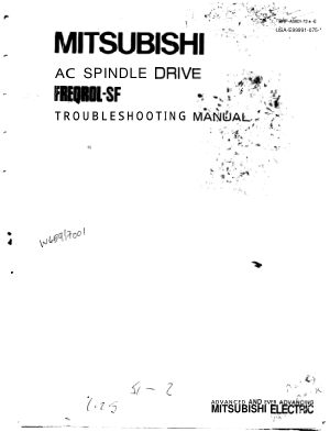 Mitsubishi AC Spindle Drive FREQROL-SF Troubleshooting Manual