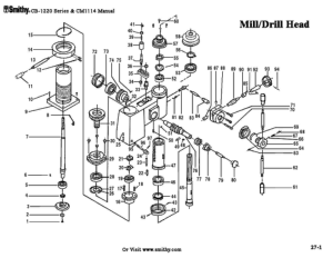 Smithy Mill Drill Head CB-1220 Series Parts Diagrams