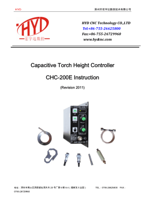 CHC-200E Instruction Manual Capacitive Torch Height Controller
