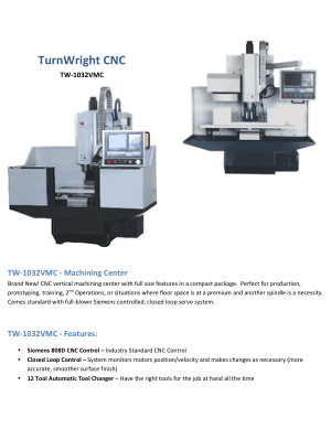 TurnWright CNC TW-1032VMC Info