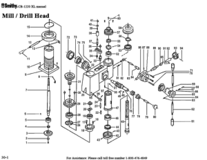Smithy MI1220 XL Parts Diagrams List Mill Drill Head