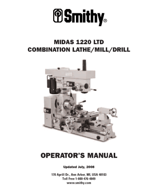 Smithy MIDAS MI1220 LTD Operator Manual