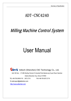 ADT-CNC4240 User Manual Milling Machine Control System