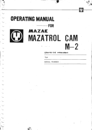 Mazak Mazatrol CAM M-2 Operating Manual