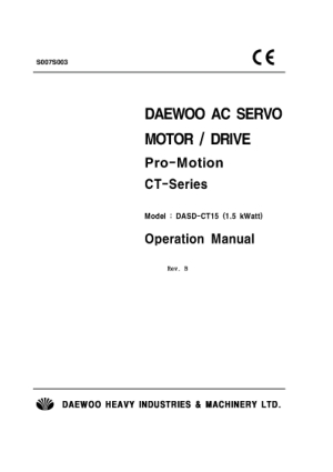 DAEWOO AC Servo Motor Drive Pro-Motion CT-Series Operation Manual