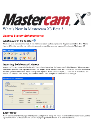 What is New in Mastercam X3 Beta 3