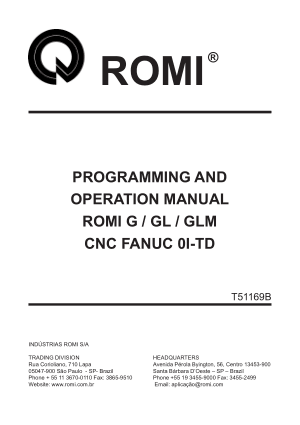 ROMI G GL GLM Fanuc 0I-TD Programming Operation Manual