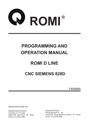 ROMI D Line Siemens 828D Programming Operation Manual