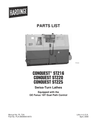 Hardinge CONQUEST ST216 Parts List – Swiss Turn Lathes GE Fanuc 18T Dual Path Control