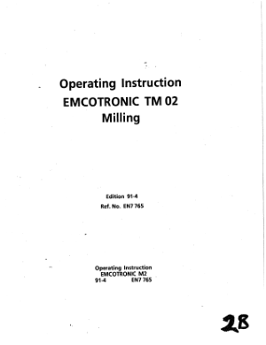 EMCOTRONIC TM 02 Milling Operating Instruction