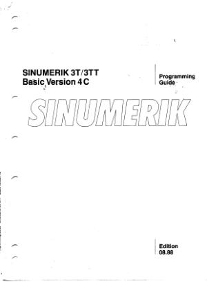 Sinumerik 3T 3TT Programming Manual