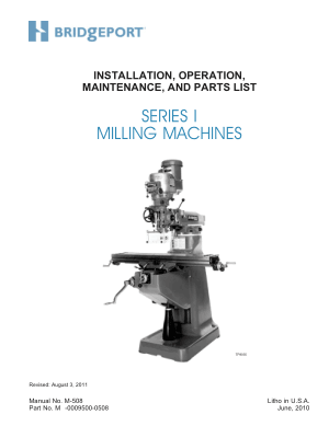 Bridgeport Series 1 Milling Machine Installation Operator Maintenance Parts List Manual