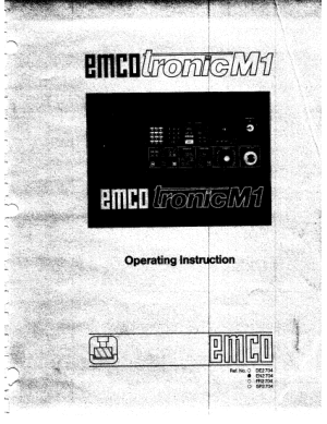 EMCO Tronic M1 Operating Instructions
