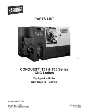 Hardinge CONQUEST T51 T65 CNC Lathes Parts List – GE Fanuc 18T