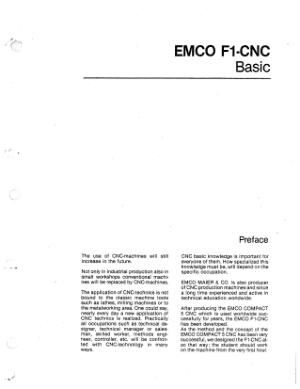 EMCO F1 CNC Mill Basic Programming Manual