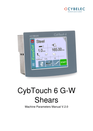 Cybelec CybTouch 6 G-W Shears Machine Parameters Manual