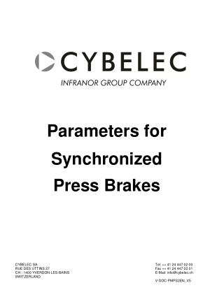 Cybelec Parameters for Synchronized Press Brakes V5.2