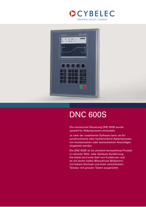 Cybelec DNC 600S de Catalogue