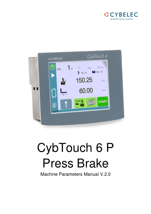 Cybelec CybTouch 6 Press Brakes Machine Parameters Manual