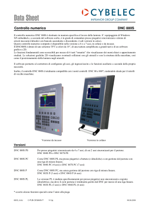 Cybelec Data Sheet Controllo numerico DNC 880S