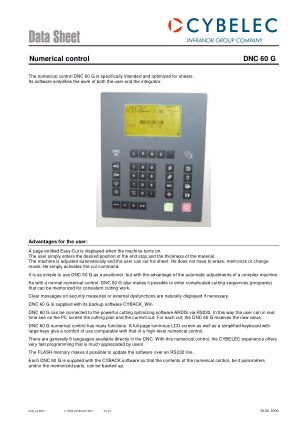 Cybelec Data Sheet Numerical control DNC 60 G