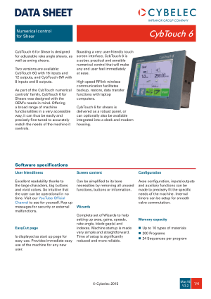 Cybelec Data Sheet CybTouch 6 V3.2 Numerical control for Shear
