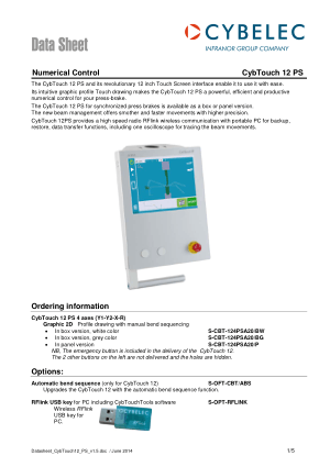 Cybelec Data Sheet CybTouch 12 PS Numerical Control