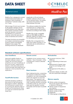 Cybelec Data Sheet ModEva Pac V2.0 Numerical control