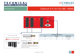 Cybelec Input Output List for CybTouch 6 P (1612io SBC-100AE)