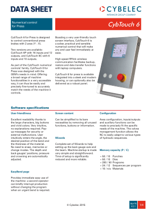 Cybelec Data Sheet CybTouch 6 V2.1 Numerical control for Press