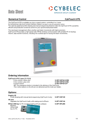 Cybelec Data Sheet Numerical Control CybTouch 8 PS
