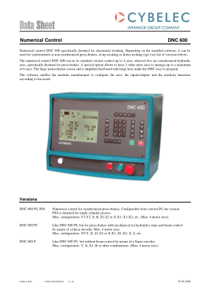 Cybelec Data Sheet Numerical Control DNC 600