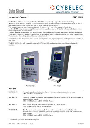 Cybelec Data Sheet Numerical Control DNC 880S
