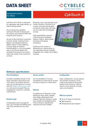 Cybelec Data Sheet CybTouch 6 V3.3 Numerical control for Shear