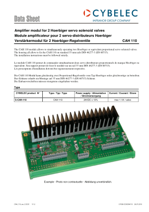 Cybelec Data Sheet CAH 110 Amplifier modul for 2 Hoerbiger servo solenoid valves