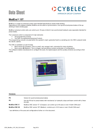 Cybelec Data Sheet ModEva 15T