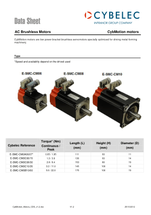 Cybelec Data Sheet CybMotion motors AC Brushless Motors