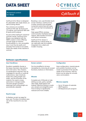Cybelec Data Sheet CybTouch 6 V2.0 Numerical control for Shear